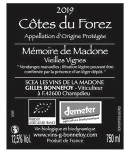 Les Vins de la Madone Mémoire de Madone 2020